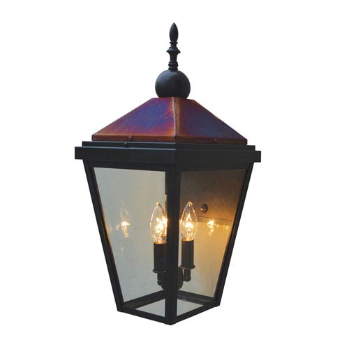 Lancaster Bronze with Raw Copper Accents Two-Light Outdoor Wall Mount