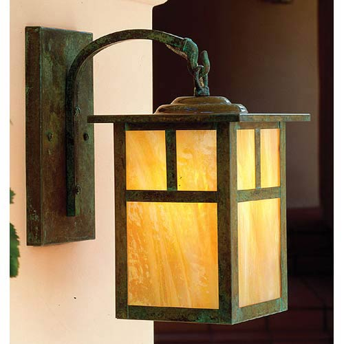 Arroyo Craftsman Mission Small Gold White Iridescent T-Bar Outdoor Wall Mount