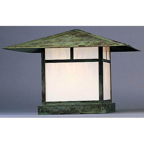 Arroyo Craftsman Monterey Small White Opalescent T-Bar Outdoor Post Mount