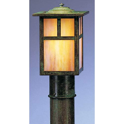 Arroyo Craftsman Mission Medium Gold White Iridescent T-Bar Outdoor Post Mount