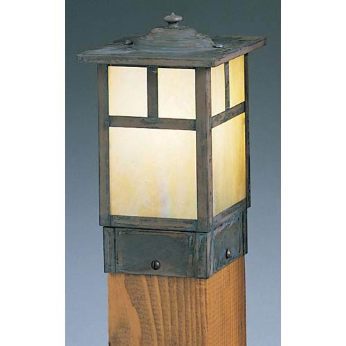 Arroyo Craftsman Mission Small Gold White Iridescent T-Bar Square Outdoor Post Mount