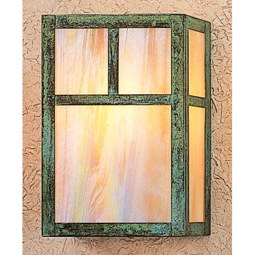 Arroyo Craftsman Mission Large Gold White Iridescent T-Bar Flush Sconce