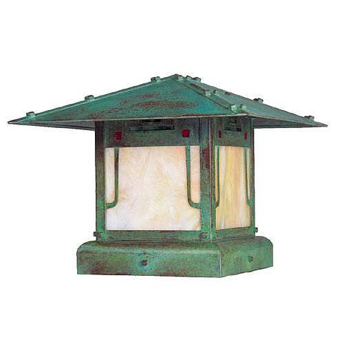 Pagoda Small Verdigris Patina Outdoor Pier Mount