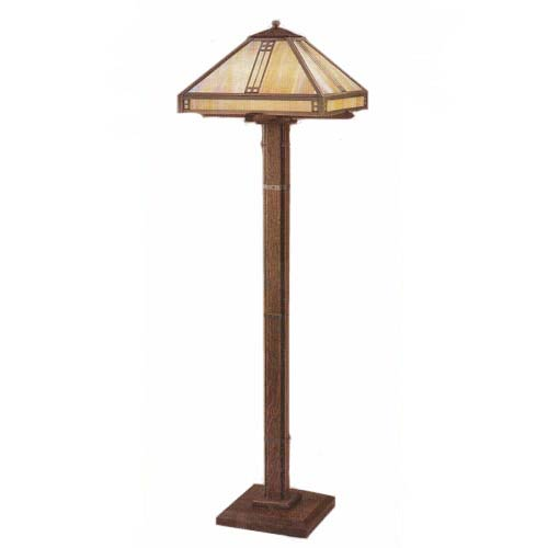Prairie Oak and Art Glass Floor Lamp