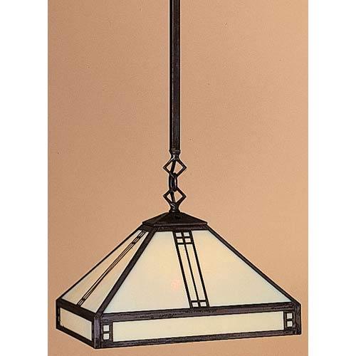 Arroyo Craftsman Prairie Small Gold White Iridescent Dome Pendant