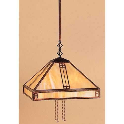 Arroyo Craftsman Prairie Medium Gold White Iridescent Dome Pendant