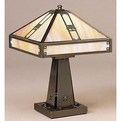 Pasadena Small Gold White Iridescent Oak Tree Table Lamp