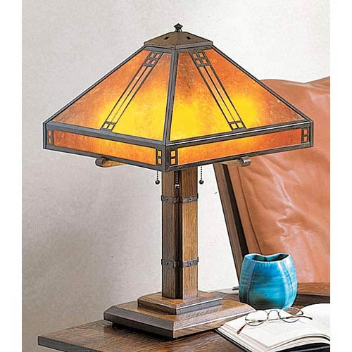 Arroyo Craftsman Prairie Large Amber Mica Table Lamp