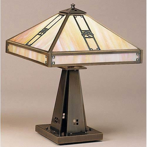 Arroyo Craftsman Pasadena Large Gold White Iridescent Oak Tree Table Lamp