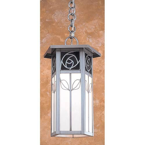 Arroyo Craftsman Saint Clair Blue and White Opalescent Lantern Pendant