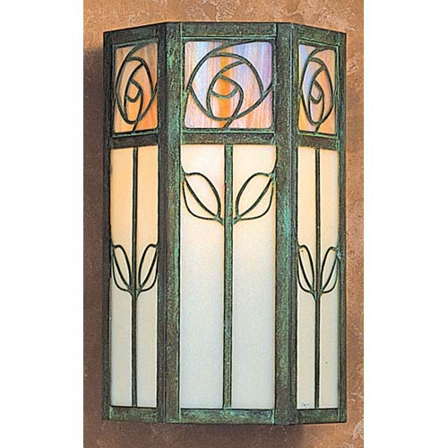 Arroyo Craftsman Saint Clair Small Gold and White Opalescent Outdoor Wall Mount