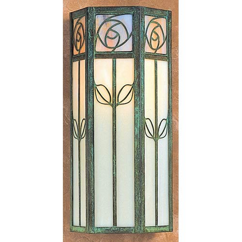 Arroyo Craftsman Saint Clair Large Gold and White Opalescent Outdoor Wall Mount