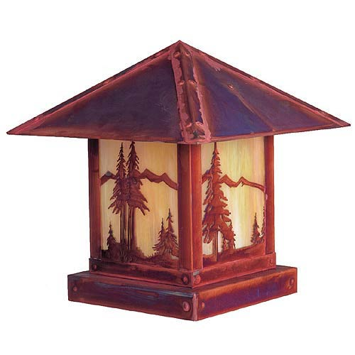 Arroyo Craftsman Timber Ridge Gold White Iridescent Mountain Outdoor Post Mount