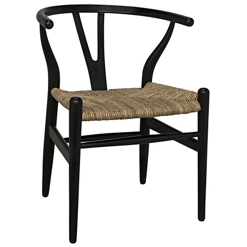 Zola Charcoal Black Chair with Rush Seat