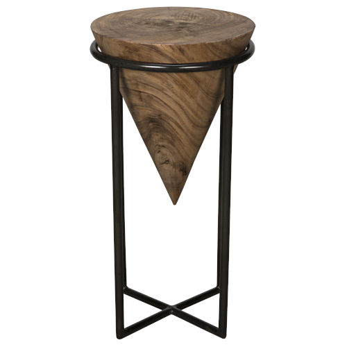 Brown and Black Round End Table
