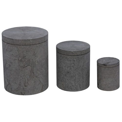 Cylinder Gray 15-Inch Cylinder Box with Lid, Set of 3