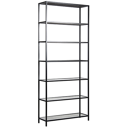 Zhao Black Metal and Antique Glass Bookcase