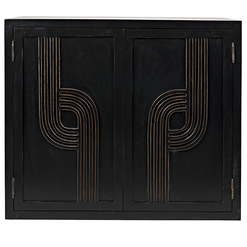 Deco Hand Rubbed Black with Gold Trim 34-Inch Sideboard