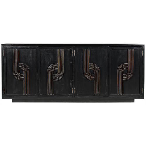 Deco Hand Rubbed Black with Gold Trim 76-Inch Sideboard