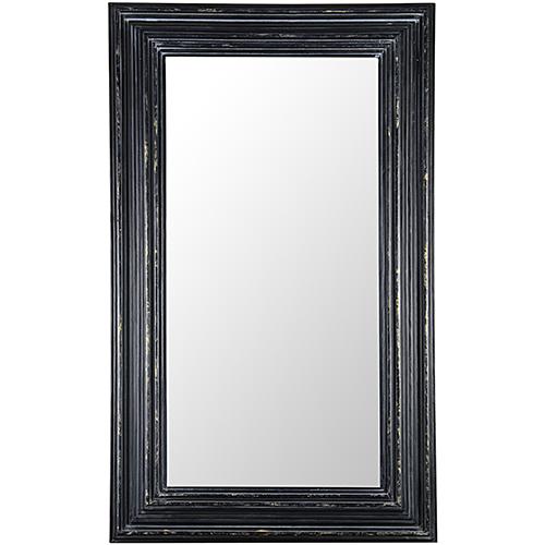 Noir Cordelia Hand Rubbed Black Mirror with Gold Trim