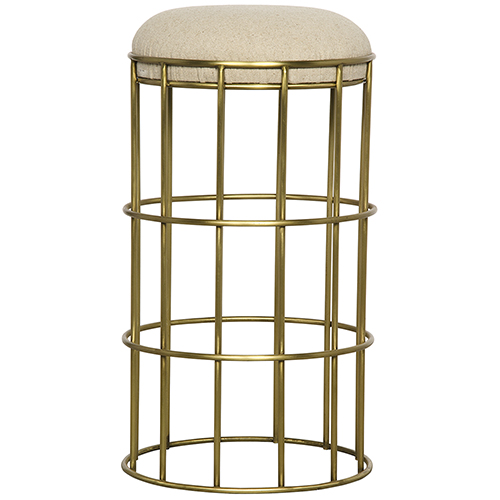 Noir Ryley Metal with Brass Finish Counter Stool