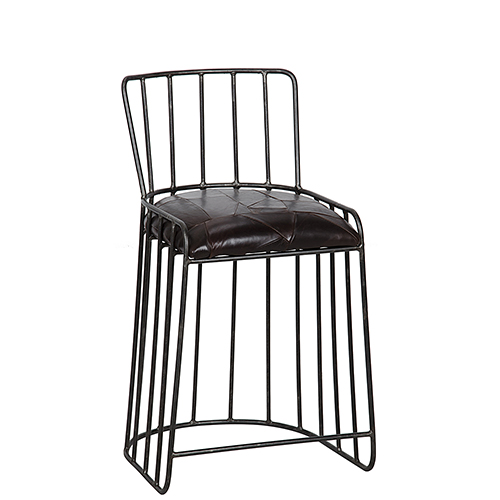 David Metal and Leather Counter Stool