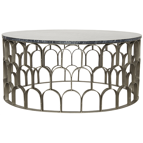 Noir Mina Antique Silver, Metal and Stone Coffee Table