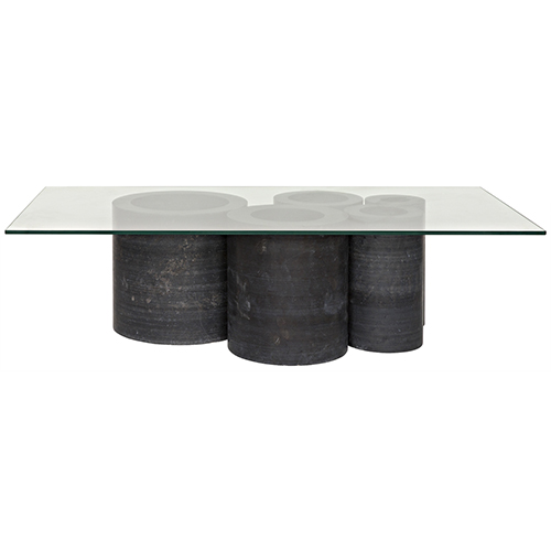 Golyath Black Stone And Gl Coffee Table