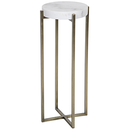 Noir Soho Antique Brass, Metal and Quartz Side Table