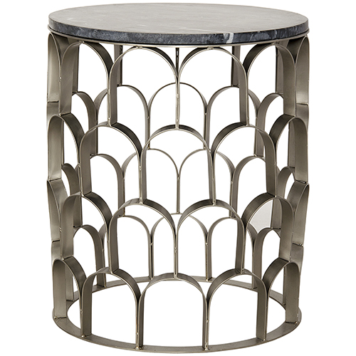 Noir Mina Antique Silver, Metal and Stone Side Table