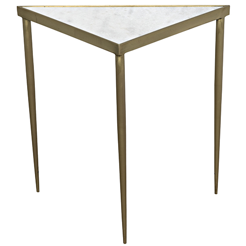 Comet Triangle Large Stone, Metal and Brass Side Table