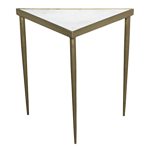 Noir Comet Triangle Medium Stone, Metal and Brass Side Table