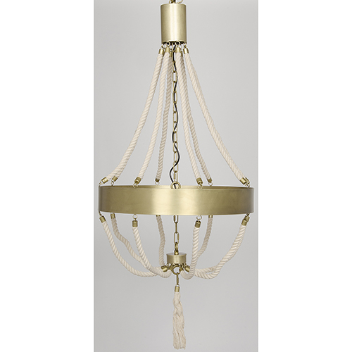 Noir Alec Antique Brass Eight-Light Chandelier with Metal and Rope
