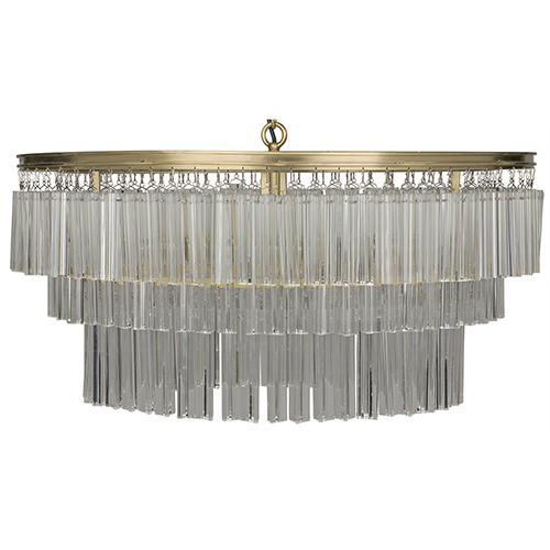 Noir Oval Deco Antique Brass Four-Light Chandelier