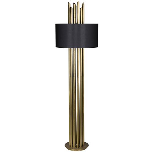 Noir Yves Antique Brass One-Light Floor Lamp