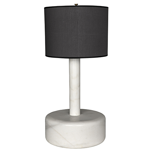 White Marble Cylinder Table Lamp with Black Shade