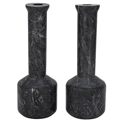 Markos Black Marble Decorative Candle Holder- Set of 2