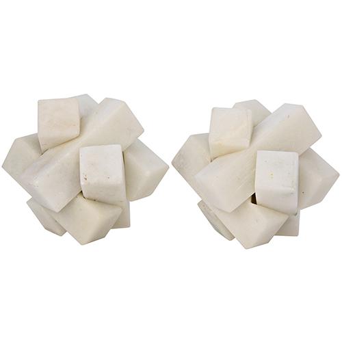 Cube White Stone Puzzle Object- Set of 2