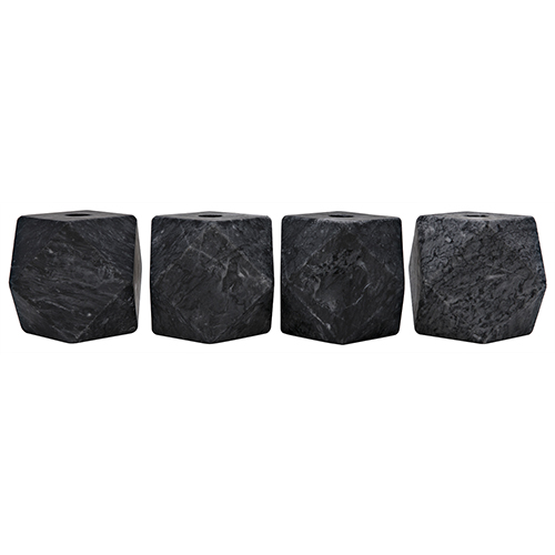 Polyhedron Black Marble Decorative Candle Holder- Set of 4