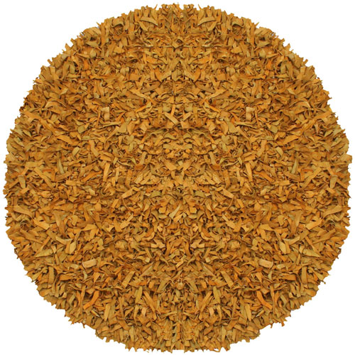 Pelle Gold Leather Round: 4 Ft. Rug