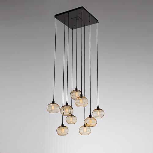 Hammerton Studio Coppa Flat Bronze 29 Inch Nine Light Pendant With Clear Optic N Gl