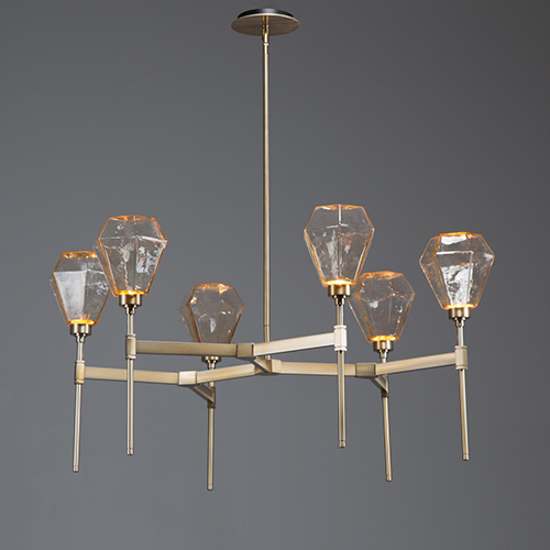Hammerton Studio Hedra Heritage Brass 38-Inch Six-Light LED Chandelier with  Amber Chilled Blown Glass