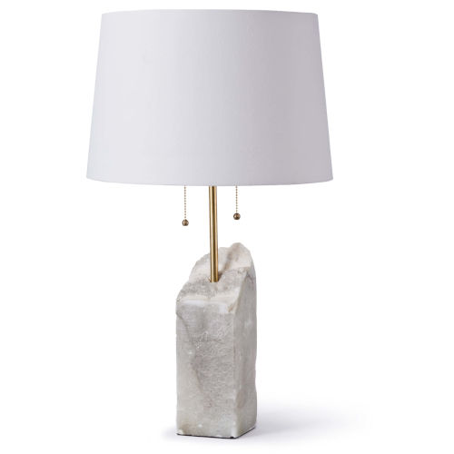 Raw Alabaster White Two-Light Table Lamp
