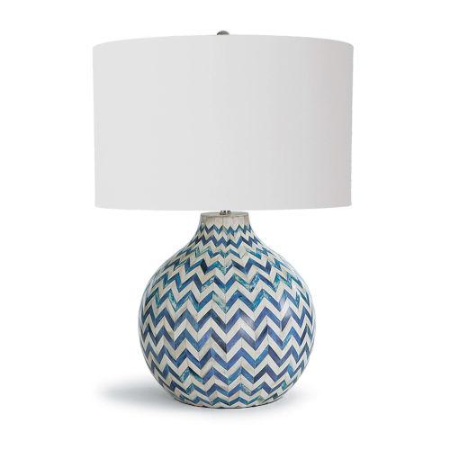Chevron Bone Indigo One-Light Table Lamp