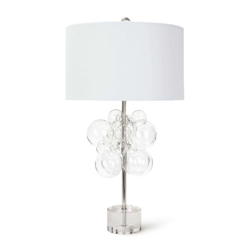 Bubbles Polished Nickel And Transparent One-Light 17-Inch Table Lamp