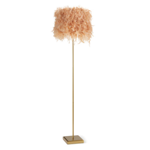 Jasmine Pink and Natural Brass One-Light Floor Lamp