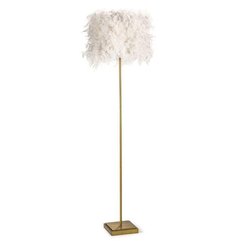 Jasmine White and Natural Brass One-Light Floor Lamp
