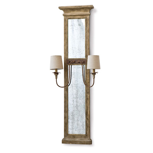 New South Provincial Wood Two-Light Wall Sconce