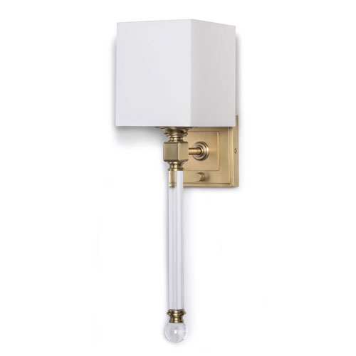 Classics Natural Brass Six-Inch One-Light Wall Sconce with Crystal