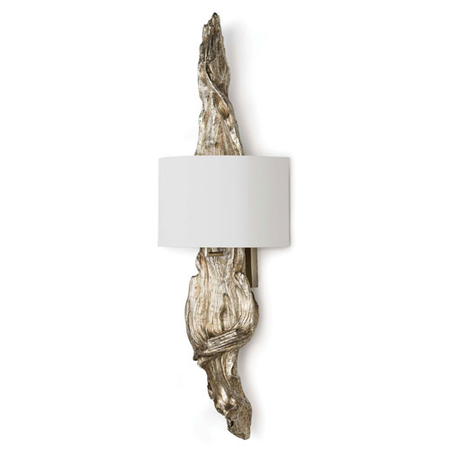 Modern Glamour Ambered Silver Leaf Two-Light Wall Sconce